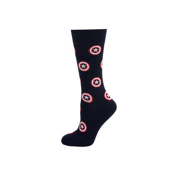 Cufflinks Inc Captain America Socks ($25) ❤ liked on Polyvore featuring intimates, hosiery, socks, blue, antimicrobial socks, wicking socks, moisture wicking socks, sweat wicking socks and blue socks