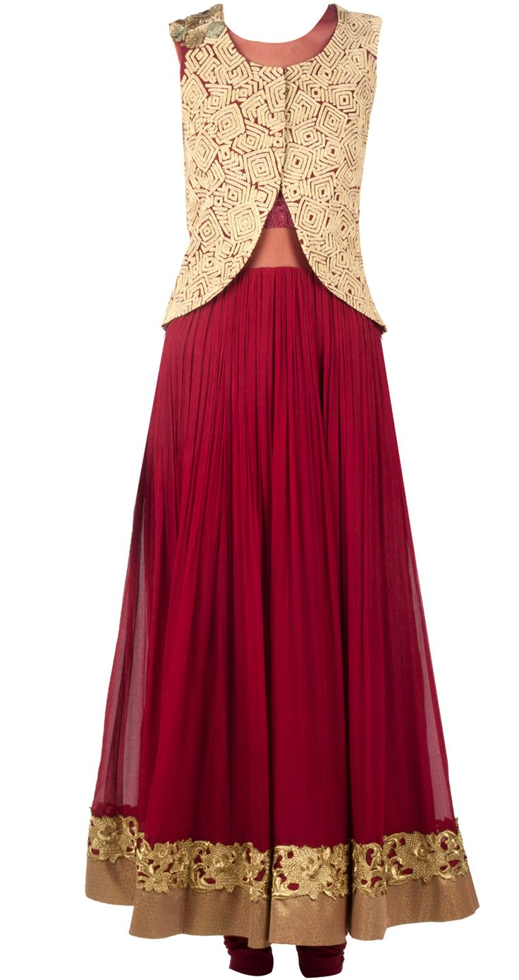 Maroon anarkali with gold jacket by RIDHI MEHRA. http://www.perniaspopupshop.com/whats-new/ridhi-mehra-maroon-anarkali-with-gold-jacket-rmc0913s29.html