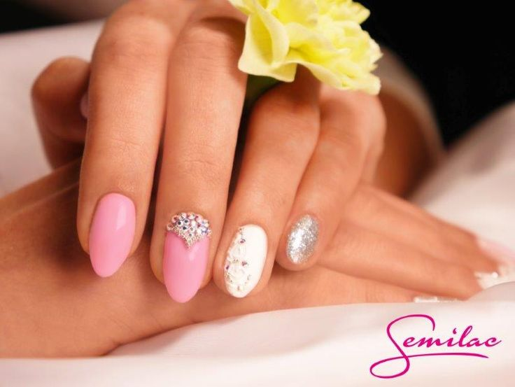 Special Day by Semilac: Semilac 001Strong White, 128 Pink Marshmallow, 144 Diamond Ring, Żel Expert White Cream Art, Art Brush N 00-1