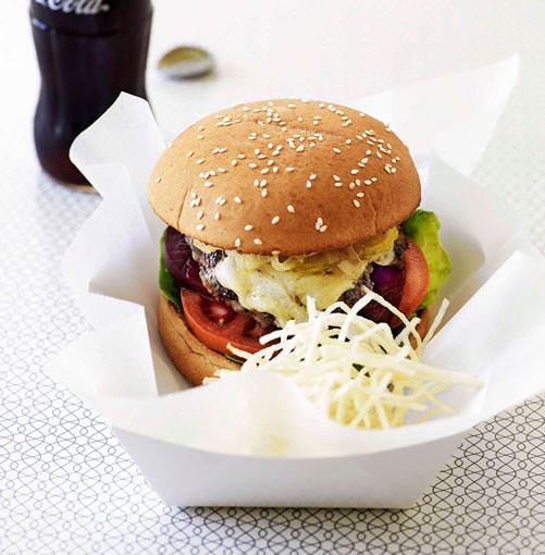 Aussie style burger with the lot (yes that includes beetroot) - Australia Day Food