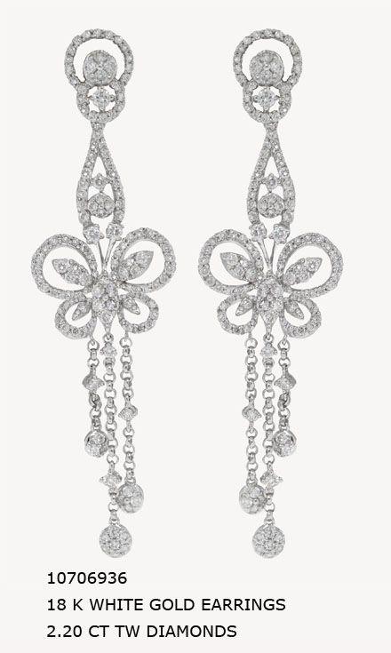 10706936 18 K WHITE GOLD EARRINGS 2.20 CT TW DIAMONDS