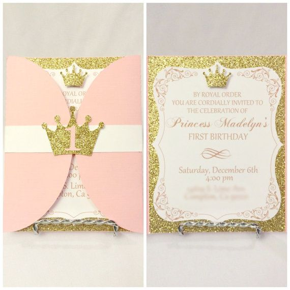 Pink Gold Princess Birthday Invitations OG door CraftySistersPlus1