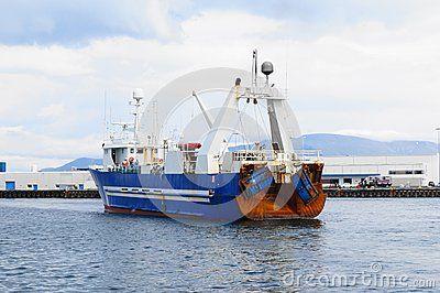 Sea fishing boat in port