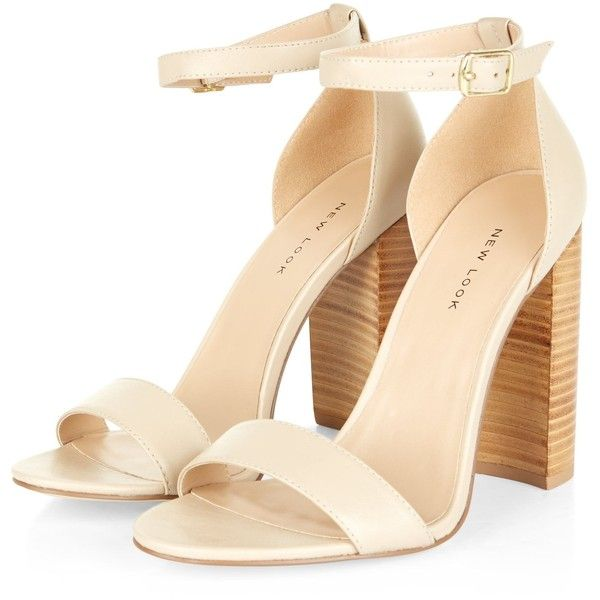 Cream Leather Block Heel Sandals ($41) ❤ liked on Polyvore featuring shoes, sandals, heels, sandales, block-heel sandals, cream shoes, open toe shoes, genuine leather shoes and color block shoes
