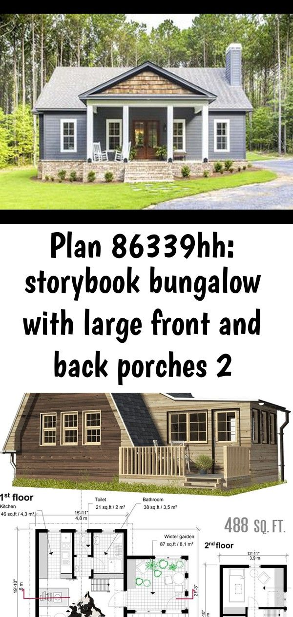 Plan 86339hh Storybook Bungalow With Large Front And Back Porches 2 Cute Small Houses Bungalow Small House Floor Plans