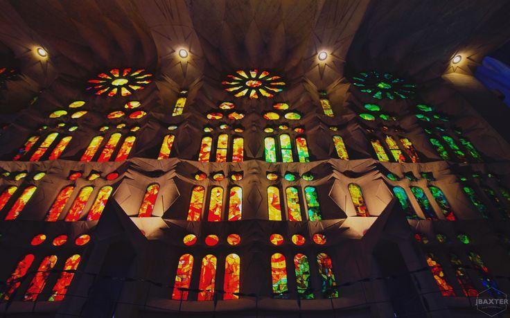 The inside of the Sagrada Familia in Barcelona, Spain