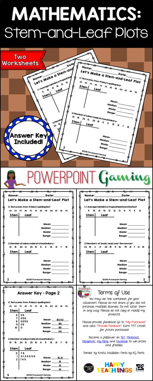 This worksheet allows students to make a stem and leaf plot using a given set of data. Student must building the plots on their own and then must find the mean, median, mode, and range of the data. There are 2 worksheets, each with 2 Stem and Leaf Plots to be made. Great for review or as a homework assignment. Extra licenses are $0.75.