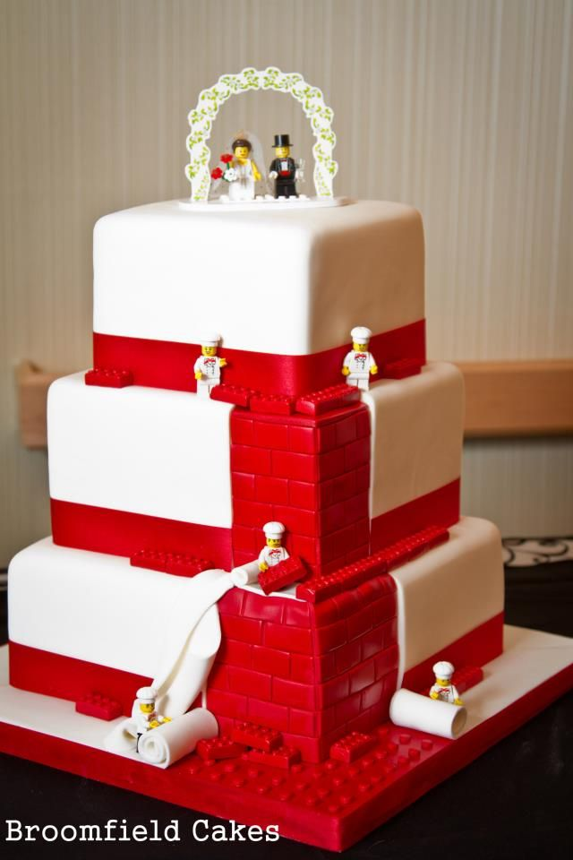 Lego Cake, wow my grandsons would love this. Maybe change up the wedding theme. :):