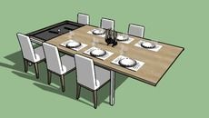 Modelo 3D de Mesa de jantar e sinuca