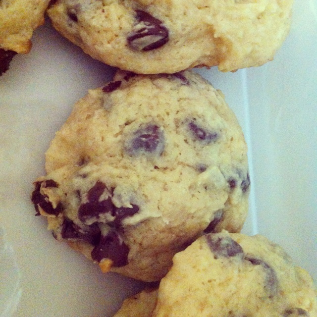 Chocolate chip overload! Sour cream chocolate chip cookies :)