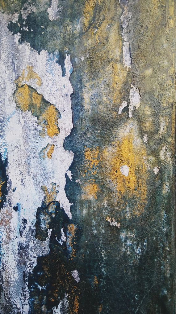Fervent This is an original textured abstract painting by Amy Neal on 10 x 20 x 1.5 gallery-wrapped canvas. Sepia and indigo inks combine to create a moody green under highlights of metallic gold. Richly textured and distressed. An organic abstract with seemingly endless detail.