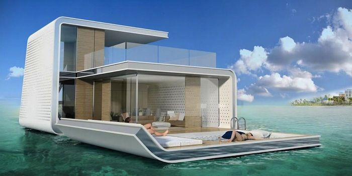 """Floating Villa Resort - """"The lower level of the 1,700-square-foot villas is underwater and includes kitchen, dining room, living room, and bathroom. The second level has a master bedroom and bathroom, and there's a roof deck terrace  on the third level."""" #Pop_Mech"""