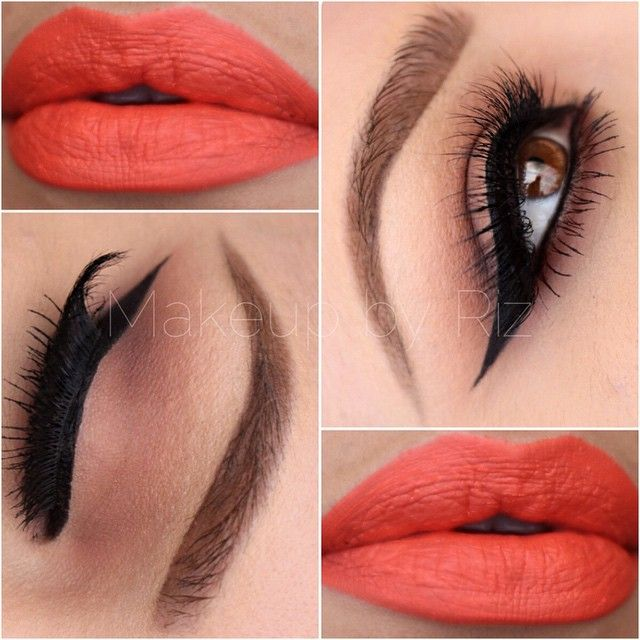 Coral lips with neutral eye makeup @makeupbyriz