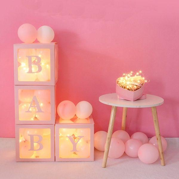 4PCS Cube Ballon Blocks Transparent Gift Boxes Kid Birthday Baby Shower Party De