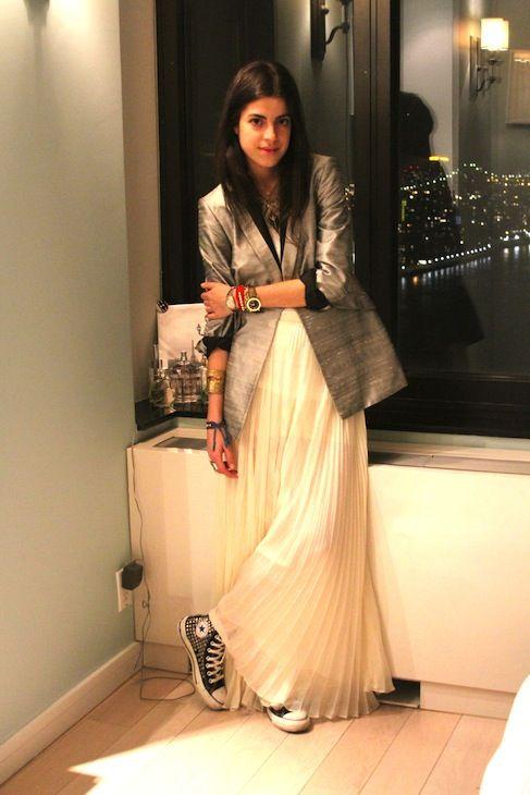 Rag & Bone blazer and skirt; Converse sneakers, Alexander Wang tank top