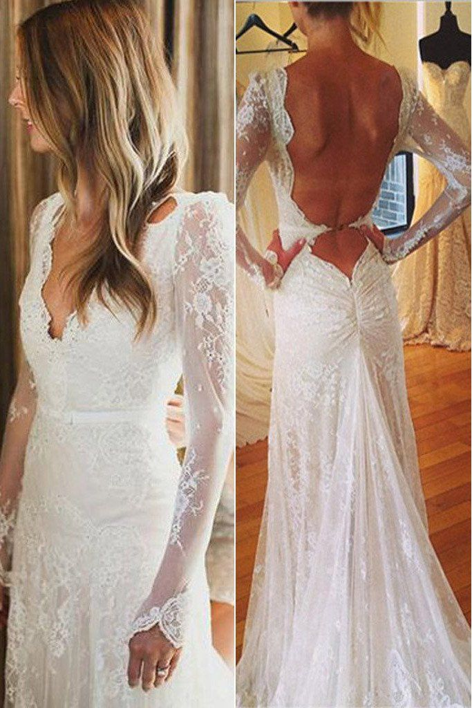 Wedding Dresses, Wedding Gowns, Cheap Wedding Dresses,Bridal Dresses,Lace White Tulle Wedding Party Gowns,Sexy Open Back V-neck Mermaid Long Sleeve Wedding Dress,SVD550