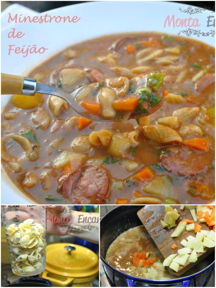 Minestrone de Feijão, leva feijão, paio ou linguiça calabresa, legumes da preferência, batatinha, mandioquinha e cenoura, com macarrão! Pá pum de fazer e incrivelmente deliciosa ;)