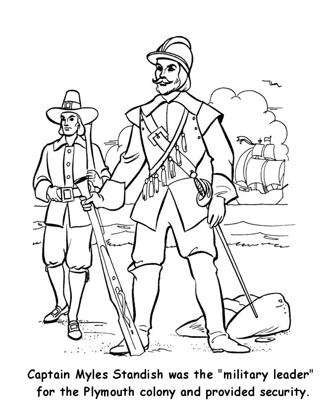 "Thanksgiving Coloring Pictures Myles Standish - ""Military Leader"" of the Pilgrims in 1620"