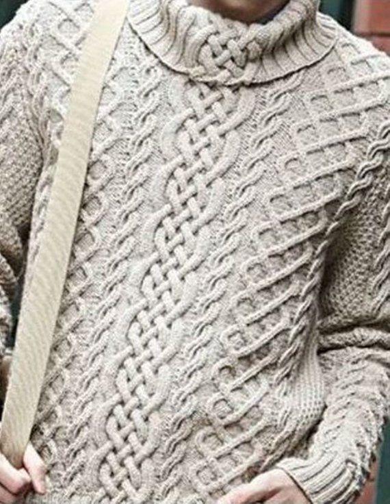 Herren Rollkragen Strickpullover Pulli Jumper Winter Warm Sweater Kapuzepullover