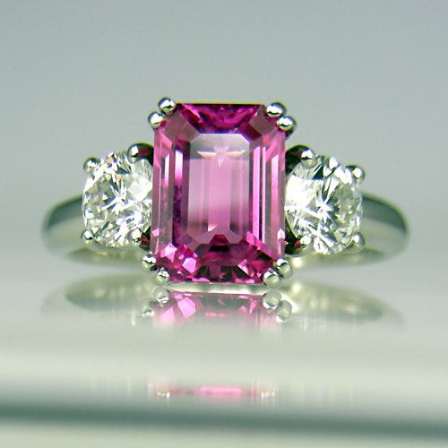 Pink sapphire and diamond ring in platinum ~ my 40th birthday will be here before you know it!