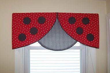 Ladybug Valance Curtains   Ladybug Valance