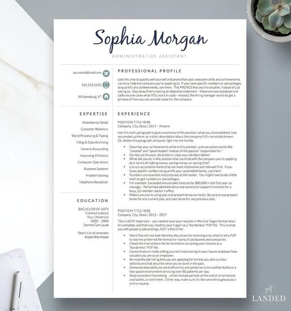Creative Stylish Resume Template For Word And Pages The Emilia Creative Resume Templates Resume Design Template Resume Templates