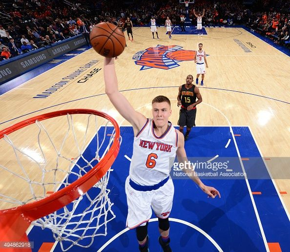 Kristaps Porzingis of the New York Knicks goes up for the dunk against the Atlanta Hawks at Madison Square Garden on October 29, 2015 in New York,New York