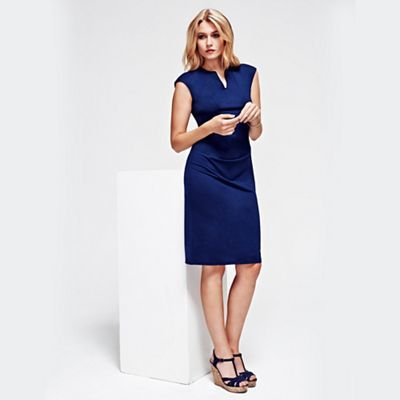 HotSquash Navy Kensington V Cut Dress in Clever Fabric-   Debenhams