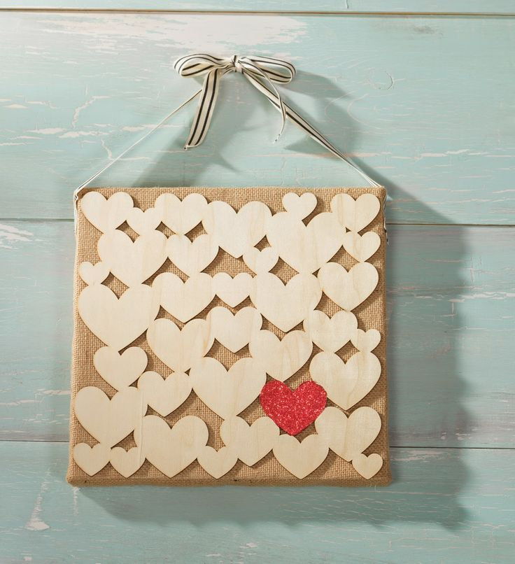 Wood Hearts DIY on Burlap Canvas created by Sarah Owens for #CraftWarehouse