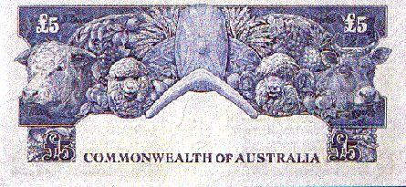 Australian £5 pre-decimal note - Back.