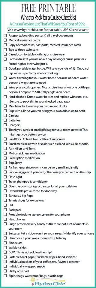 Cruise Packing List                                                       …
