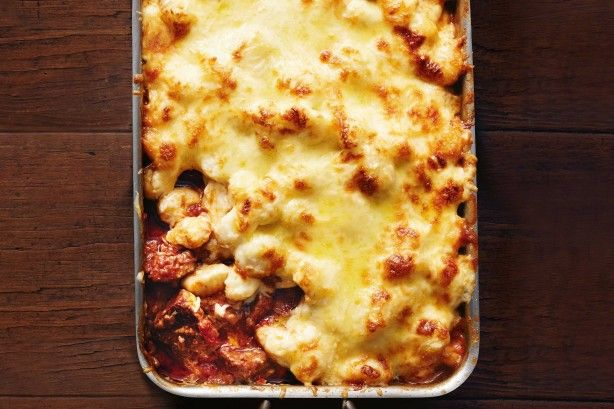 Slow-cooked beef and gnocchi bake
