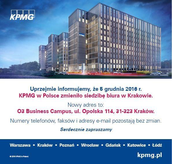 Uprzejmie informujemy, że KPMG w Polsce zmieniło siedzibę biura w Krakowie. Nowy adres to: 03 Business Campus, ul. Opolska 114, 31-323 Kraków. Serdecznie zapraszamy.