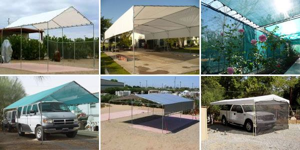 great site to buy the fittings and tarps needed to make a shade tent