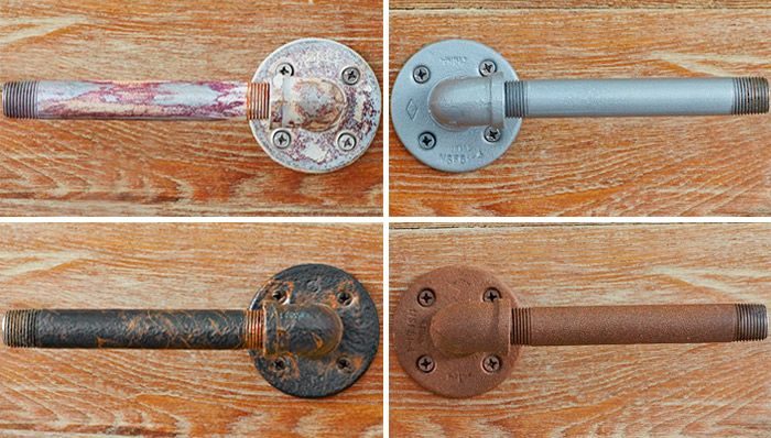 Using one of these simple painting techniques you can give galvanized pipe (or any metal surface) an industrial, distressed, or antique metal look.