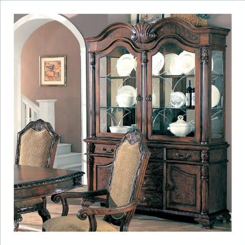 100134 Coaster Saint Charles Deep Brown Wood Finish Buffet And Hutch With Two Glass Doors Accentuate Your Dining Room The Sophisticated Designs Of
