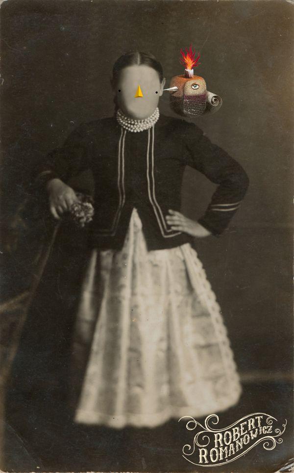Lady with a bird Emotikon smile by Robert Romanowicz