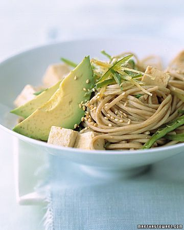 Avocado with soba noodles and well, skip the tofu and add chicken, but looks yummy!  Must try it!