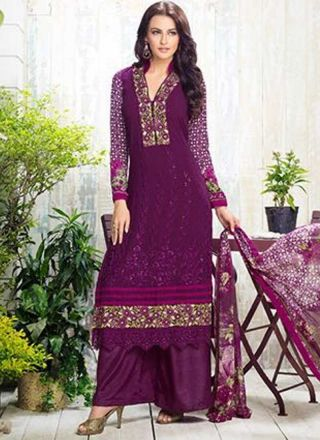 Purple Embroidery Work Georgette Designer Print Palazzo Pakistani Suit http://www.angelnx.com/Salwar-Kameez