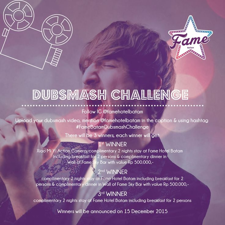 """Fame Hotel Batam present Dubsmash Challenge in conjunction of """"Road to Soft Opening"""" Upload your dubsmash video > mention Fame Hotel Batam in the caption > using hashtag #FameBatamDubsmashChallenge and get many prizes for 3 winners. For more info please like fan page of Fame Hotel Batam yaa :)"""