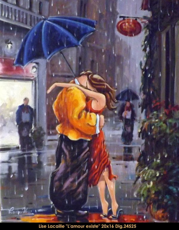 Lise Lacaille original oil painting on canvas #liselacaille #art #artist #canadianartist #quebecartist #fineart #figurativeart #originalpainting #oilpainting #CanadianArt #couple #kissing #rain #multiartltee #balcondart