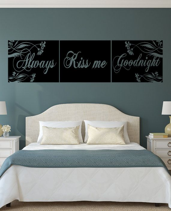 Always Kiss Me Goodnight Decal Vinyl Master Bedroom Wall Decal 3 Three  Panel Wall Art Design