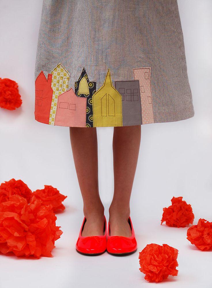 adorable DIY city skirt or dress applique