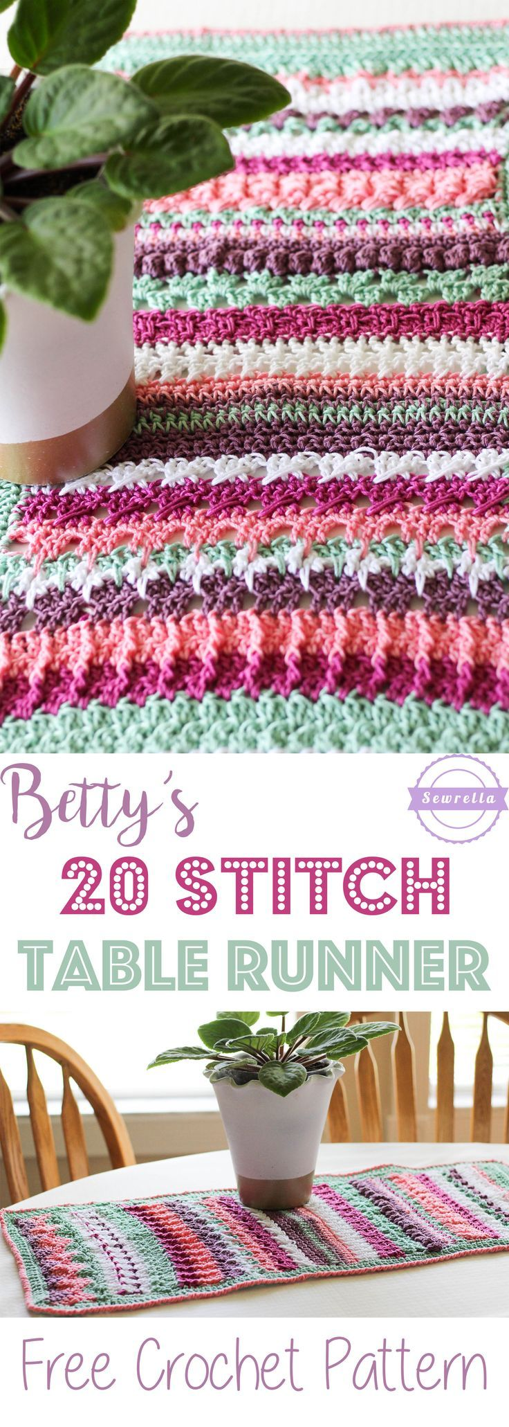 Betty's 20 Stitch Table Runner   Free Crochet Pattern from Sewrella