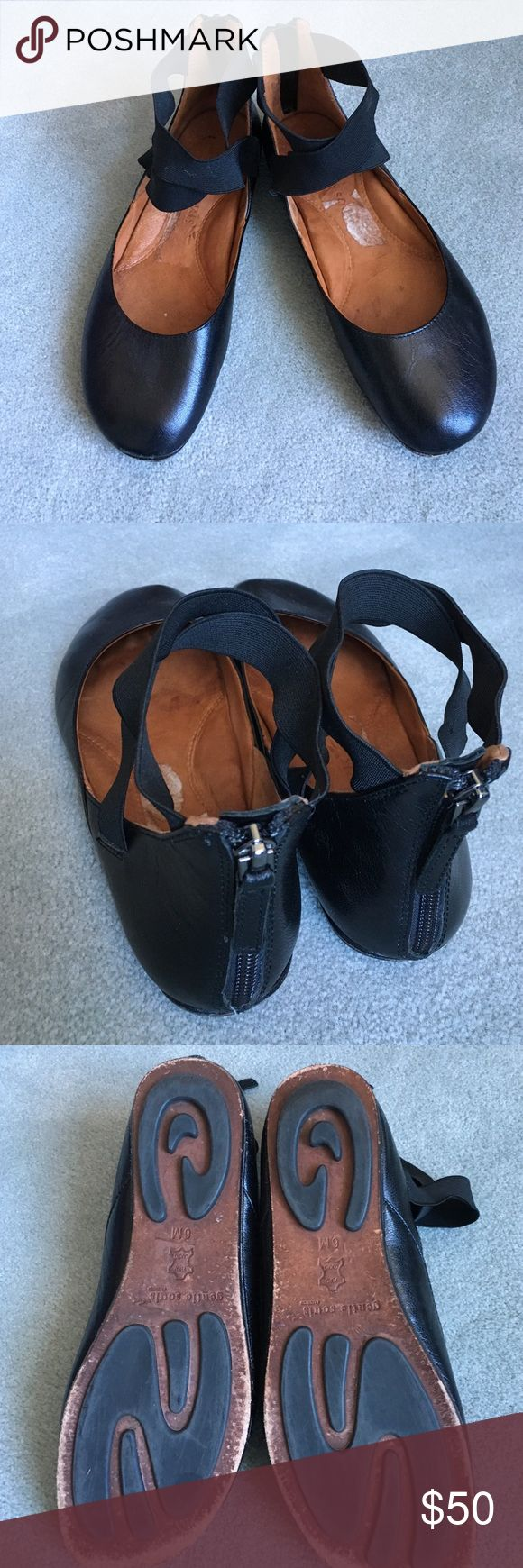 Gentle souls leather ballet flat! Comfortable shoes with amazing foot support! Like walking on a cloud! Criss cross ankle strap with zip up back makes these shoes fun and stylish! Plenty of wear left. Very high quality expensive leather shoes. Gentle souls Shoes Flats & Loafers