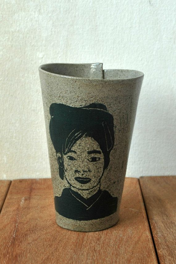 Check out this item in my Etsy shop https://www.etsy.com/il-en/listing/258450876/ceramic-sgraffito-cup-japanese-girl