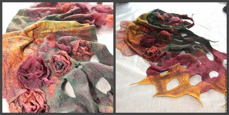 В этом мастер-классе я делаю акцент именно на процессе создания розочек. Описывать процесс валяния не буду, как валять можете посмотреть в предыдущих уроках. Парочка фотографий работ учениц. Туника с розами, палантин с розами, су…