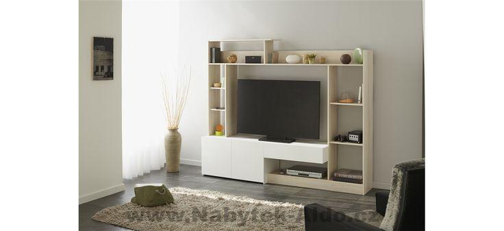 Televizní stěna v provedení bílá-světlý dub