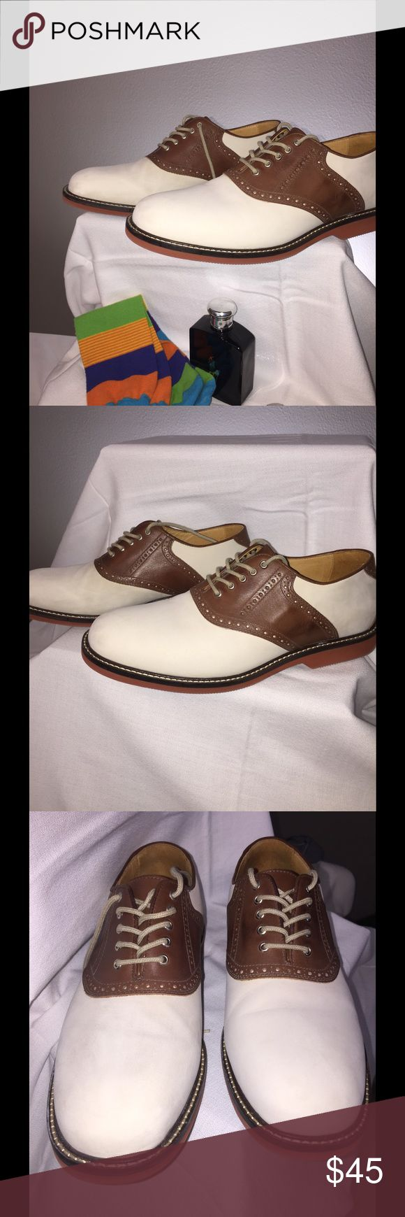 Men's Saddle | Oxfords by Johnston & Murphy Like New. White and Tan saddle shoes. Sheepskin/Moisture~Wicking Insole. These are truly a classic. Johnston & Murphy Shoes Loafers & Slip-Ons