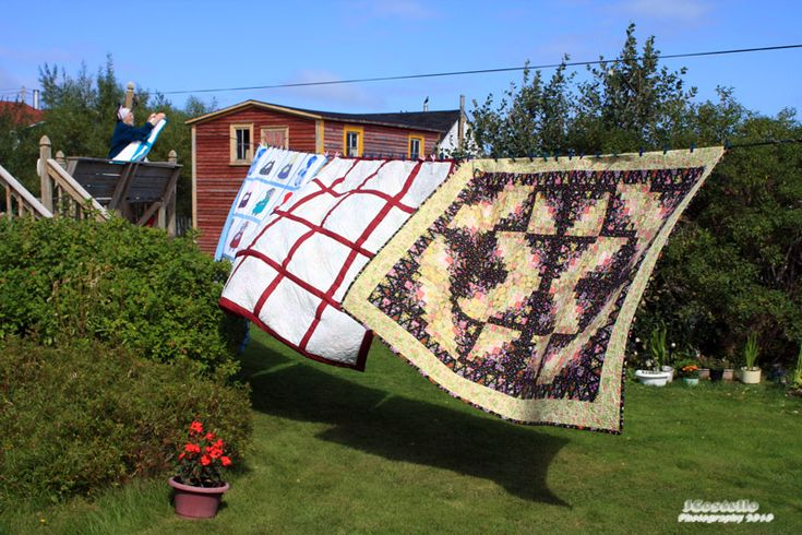 Quilts on the line, Fogo Island, Newfoundland, Canada.